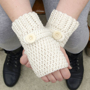 Ivory Fingerless Wristlets - MADE TO ORDER